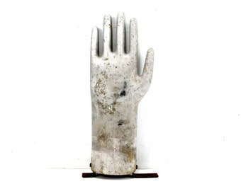 Vintage Aluminum Glove Mold, Silver Metal Hand, 13 inches tall (c.1970s) N2 - Quirky Collectible, Industrial Home Decor