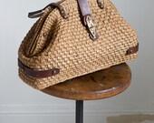 1910s  Victorian straw wicker handbag