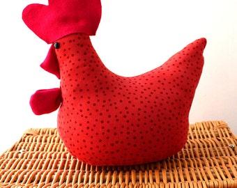 Orange Dotty Chicken Doorstop