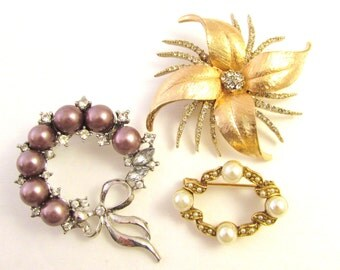Vintage Brooch Lot - Exotic Pave Floral,  Purple Pearl Wreath with Clear Crystals, Imitation Pearl Pins / Brooches