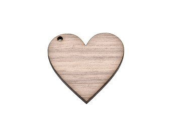 10 Walnut Wood HEART Key Chain Blanks, Keychain Blanks Laser Cut Shapes, Off-Center Top Hole, Customize Pendants; choose size, Lcw0151