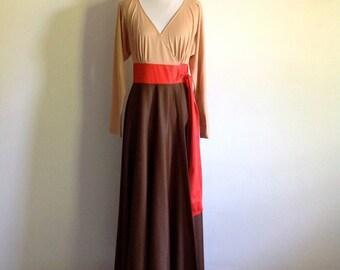 Vintage Color Block Vanity Fair Full Length Robe - Size Small to Medium