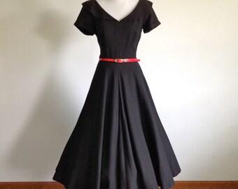 50s Aywon Originals Black Dress - Size Small to Medium