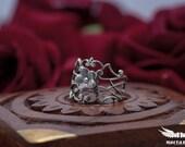 Aurora Borealis Flower Midi Ring - Silver Plated Filigree Midi Ring - Victorian Gothic Jewelry