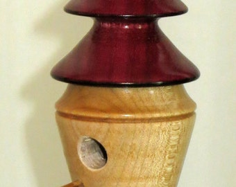 "Miniature Turned Wood Bird House - 5.25"" Hanging Bird House Ornament - Christmas, Easter, Indoor Garden, Kitchen Bird House - Item 4677"