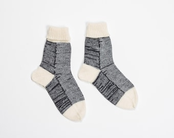 Handmade knitted socks - warm white and anthracite wool yarn - knitting home socks