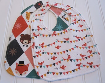 SWEET NATURALS/Organic Line/Baby Bib/Infant--18 mo./Set of Two Bibs/Party Animals(Organic)/Organic Fleece Back