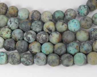 Matte African Turquoise Jasper 8mm round beads -15