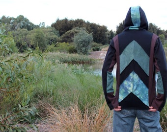 Arrow- Males M Psychedelic Hoodie- Hand Dyed Organic Hemp Cotton