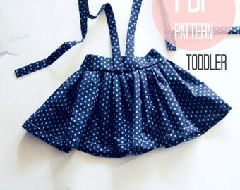 Easy Skirt Sewing Pattern Skirt PDF Pattern for Girls Vintage Skirt Suspender High Waist Skirt 18-24 months, 2T, 3T Beginner Skirt Project