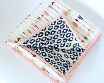 Peach and Navy Arrows Baby Quilt - Arrow Baby Blanket