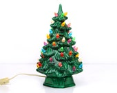 ceramic christmas tree, christmas decoration, lighted, holiday lighted tree, flame lights, 12""