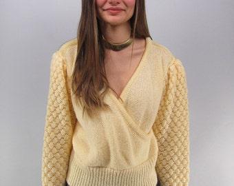 Vintage 80s Wrap Sweater, Popcorn Knit Sweater, Jumper, 80s Avant Garde Sweater Δ size: md