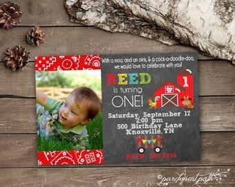 Farm Birthday Invitation - Printable - First Birthday - Barnyard Birthday Party - Farm Party