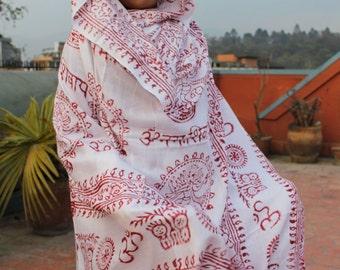 Om Yoga Meditation Shawl Nepal-White Yoga Shawl, Cotton Shawl, Yoga Scarf