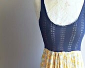 Summer Tank Dress   Maxi Dress   Boho Style   Yellow Floral   Navy Sweater   Comfortable   Knit   Upcycled