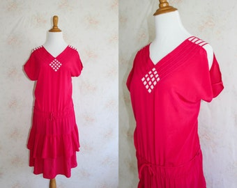 Vintage 80s Cage Dress, 1980s Party Dress, Tiered, Bright Pink, New Wave, Punk