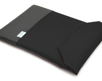 Dell XPS 15 Case 9550 - Black Canvas with Black Faux Leather Pocket
