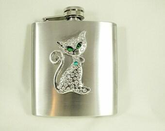 Flask For Women,  Rhinestone Kitty Cat   6 ounce Handmade