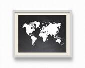 Chalkboard World Map 8 x 10 inches Art Print Printable File.