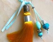 Moroccan accessory - yellow art  silk tassel - beaded  pendent  - moroccan art
