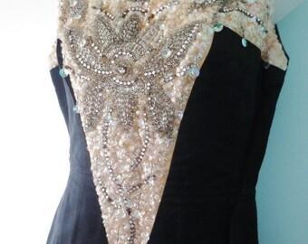 Vintage Dress Black Ivory Long Rhinestones Sequins Beaded Dressy Formal Occasion
