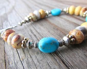Gemstone Bracelet crazy lace agate turquoise howlite gemstone adjustable bracelet