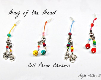 Day of the Dead Cell Phone Charms, 2 charms with Colorful or silver Sugar Skulls, Catrina, Calavera, Calacas  & Turqoise beading