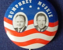 1968 Humphrey Muskie Presidential Photo Campaign Button Pin