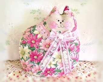 Cat Pillow Doll, Cloth Doll 7 inch, Pink Yellow Daisies Print, Prim Soft Sculpture Handmade CharlotteStyle Decorative Folk Art
