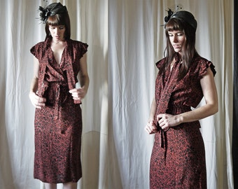 70s does 30s black dusty red floral pencil skirt & wrap over blouse set S