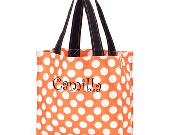Personalized Orange Polka Dot Halloween Tote [Halloween, candy bag, trick-or-treating, trick-or-treat bag, candy tote] - gfyE10613282