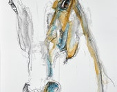 Contemporary Original Fine Art, Watercolor and Black Chalk Painting of a Horse Head, Animal Art
