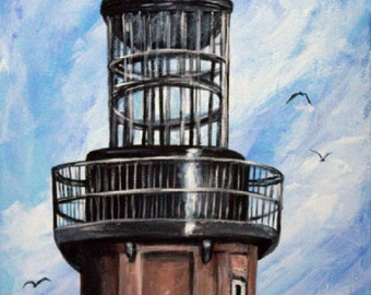 """Florida Lighthouse Original Painting on 12"""" x 24"""" stretched canvas, Seascape painting, Lighthouse wall art, Unframed Lighthouse art"""