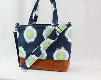 Extra Large Lulu Tote Messenger Diaper Navy Ikat PU Leather - READY to SHIP  Vegan Overnight Nappy Beach