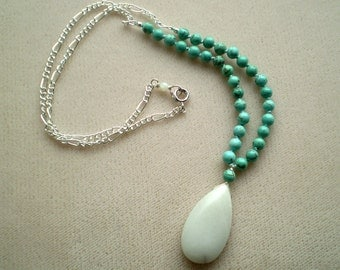 Turquoise and White Serpentine Necklace - Blue Knotted Turquoise and White Pendant Drop Necklace - Howlite - Silver - Summer Necklace