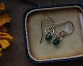 Gold Drop Earrings, Small Dangle Earrings, Sapphire Earrings, Simple Earrings, Rose Gold Jewelry, Handmade Earrings, Rose Gold Earrings.