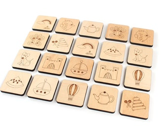 memory MATCHING GAME - natural wooden toy set for kids - 20 PIECE - a montessori inspired learning toy with homegrown organic finish