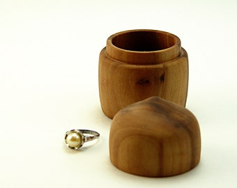 "Hand Turned Box in Salvaged Apple-Wood: 2"" Diameter by 2 3/4"" Tall."