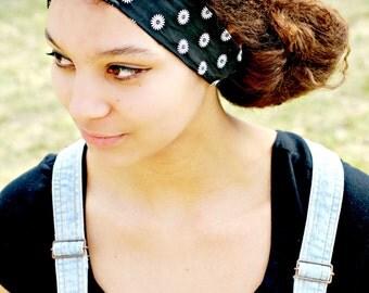 Boho Summer Hair Scarf, Black Bow Tie Headband, Sunflower Hair Bow