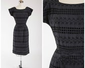Vintage 50s Dress • Dainty Darling • Black Eyelet Lace Cotton 1950s Sheath Dress Size Small