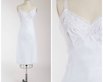Vintage 1960s Slip • Heaven Sent • White Cotton Late 60s Slip with Lace Size Small