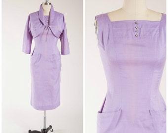1950s Vintage Dress • Violacious Grove • Lavender Cotton Vintage 50s Dress Set Size Small