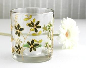 Glass Candle Light Holder, Botanical Candle Holder, Foliage Glass Tea Light Holder, Hand Painted Votive Candle Holder, Ready to Ship