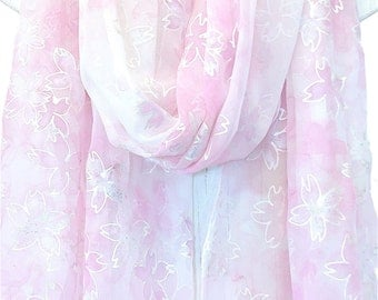 Hand Painted Silk Shawl, ETSY, Large Wedding Shawl, Long Wedding Wrap, White, Silver and Pink Cherry Blossoms Sakura Scarf, 22x90 inches
