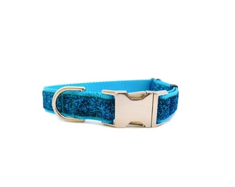 Turquoise Dog Collar, Sparkle Dog Collar, Bling Dog Collar