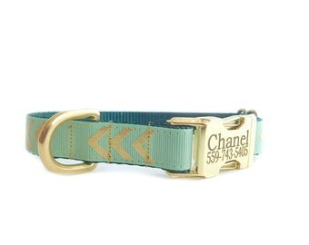 Personalized Dog Collar, Gold Chevron Mint Collar