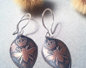 Queen Bee Earring etched copper