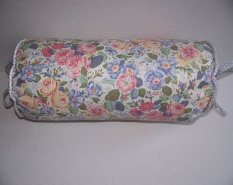 WHITESALE - LAURA ASHLEY Sycamore Quartet Neck Roll Decorator Pillow - Blue Pink Yellow Roses Floral - Shabby Chic Country Cottage Bedding