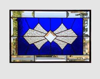 Beveled stained glass panel window Art Deco blue stained glass window panel window hanging suncatcher 0174 17 1/2 x 11 1/2